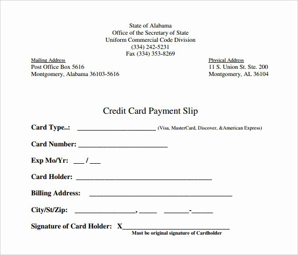 Credit Card Payment form Template Beautiful Slip Template – 13 Free Word Excel Pdf Documents