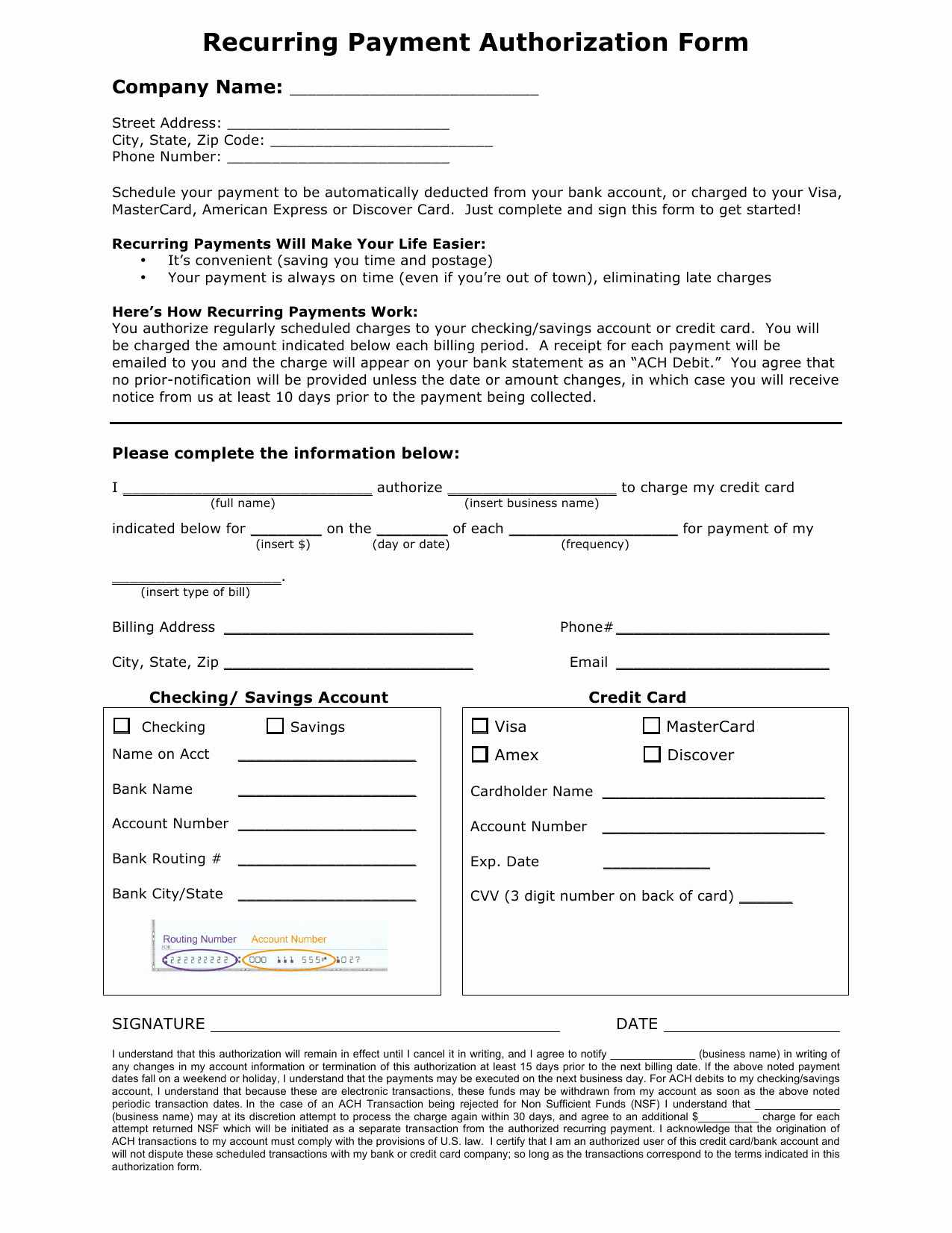 Credit Card Payment form Template Best Of Download Recurring Payment Authorization form Template