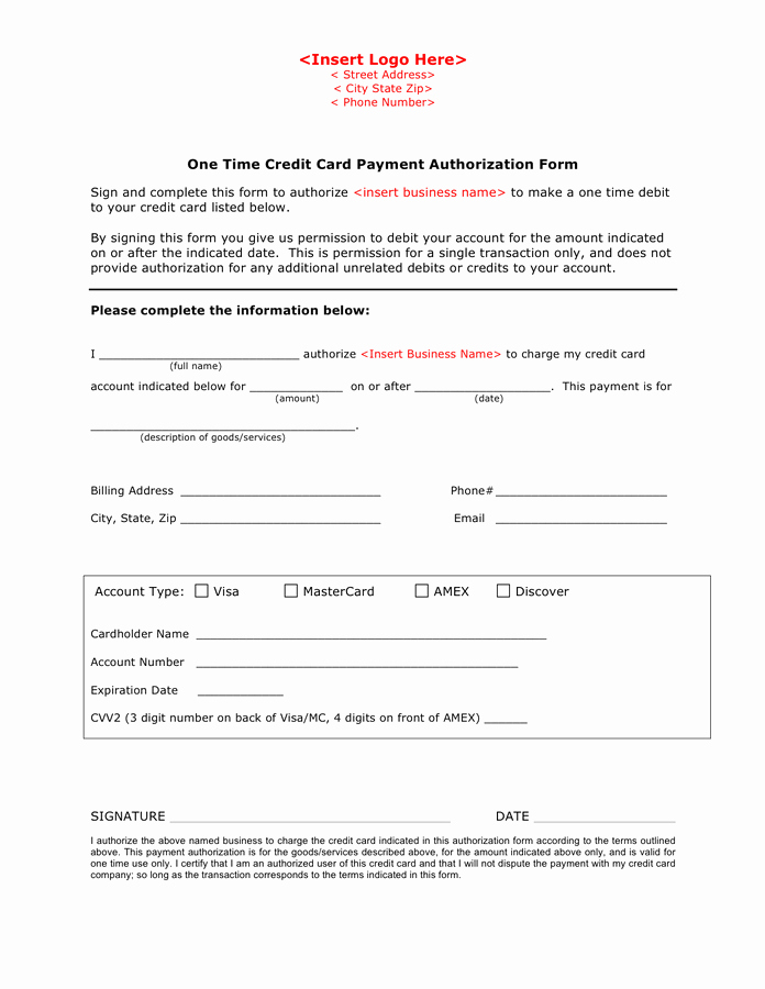 Credit Card Payment form Template Inspirational Credit Card Payment Authorization form Template In Word