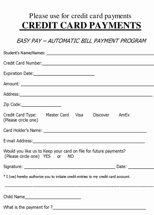 Credit Card Payment form Template Lovely 5 Credit Card form Templates formats Examples In Word Excel