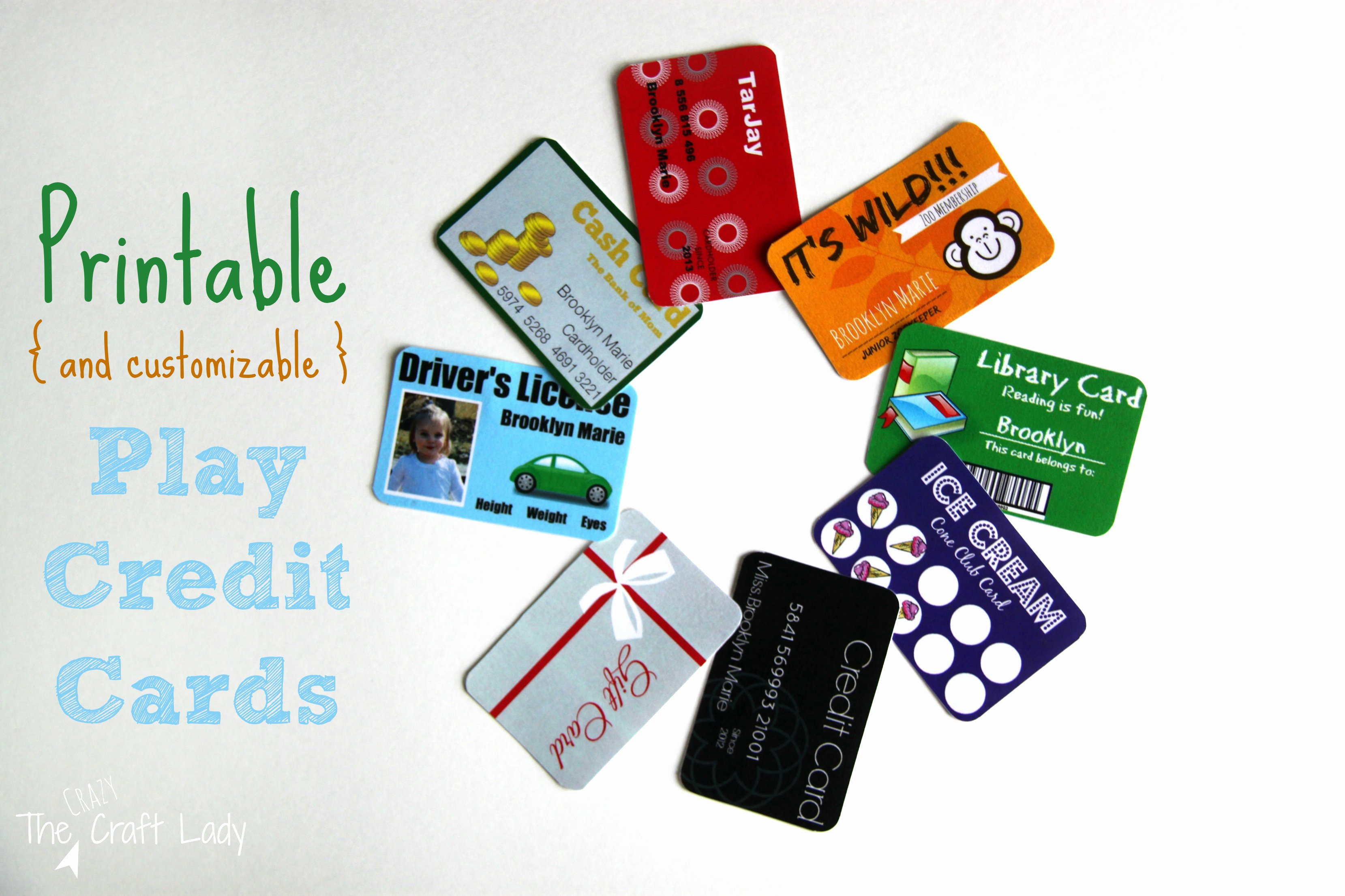 Credit Card Template Maker Elegant Printable and Customizable Play Credit Cards the Crazy