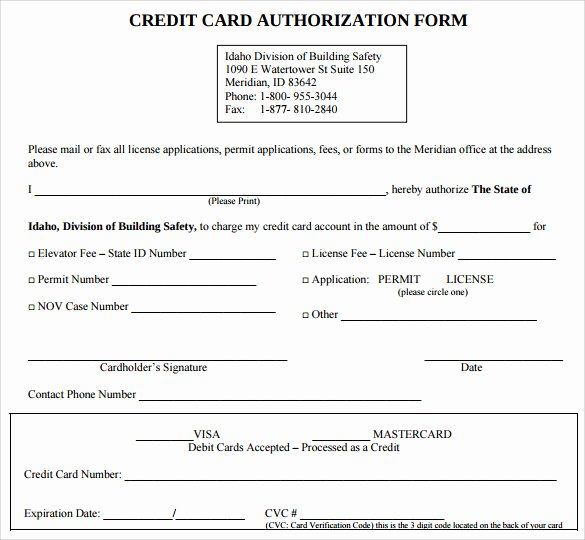 Credit Card Template Word Elegant 7 Credit Card Authorization forms to Download
