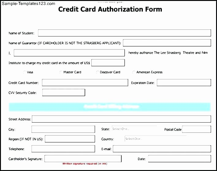 Credit Card Template Word Elegant Recurring Credit Card Authorization form Template Free