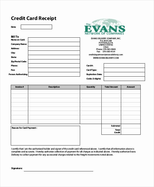 Credit Card Template Word Lovely 7 Credit Card Receipt Templates – Pdf