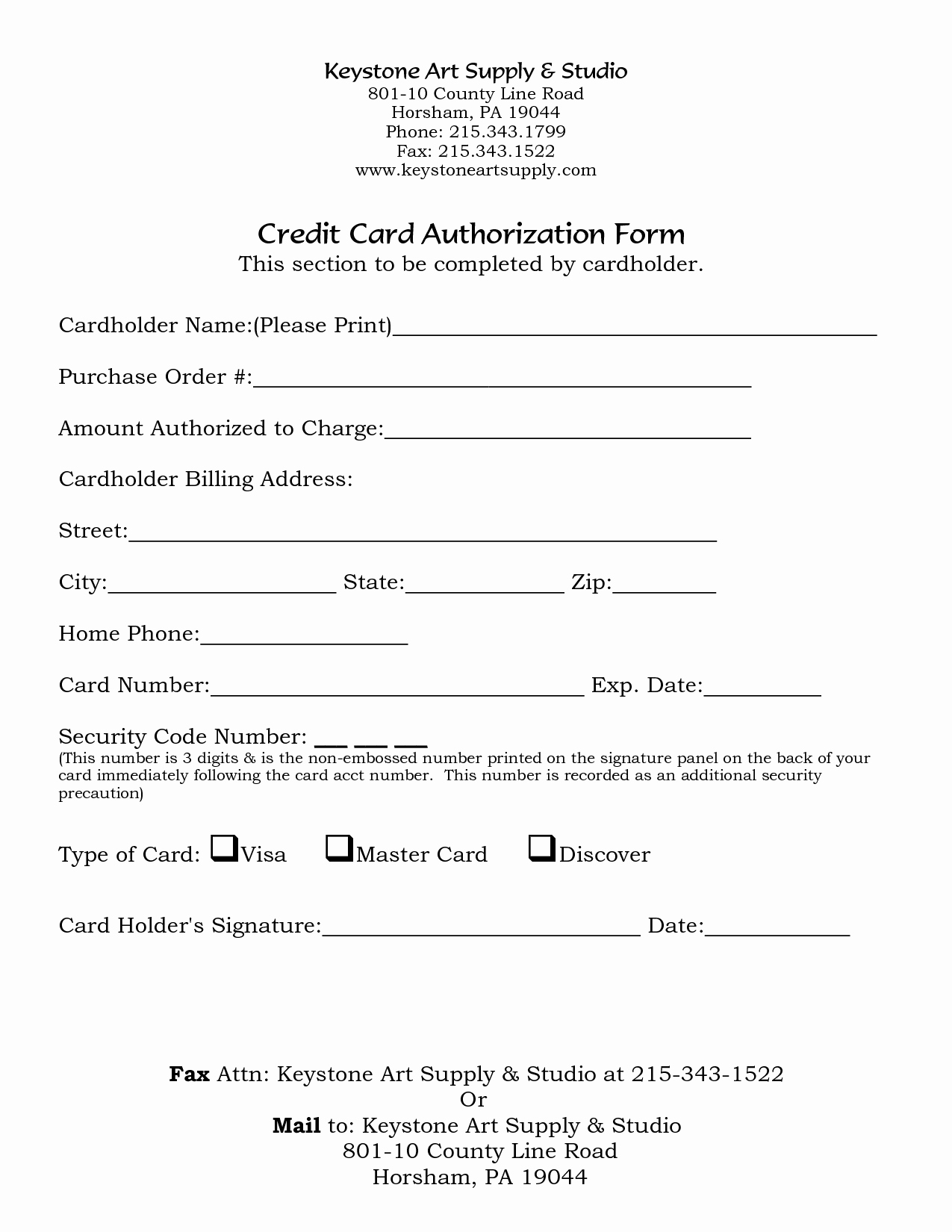 Credit Card Template Word Unique Credit Card Authorization form Word