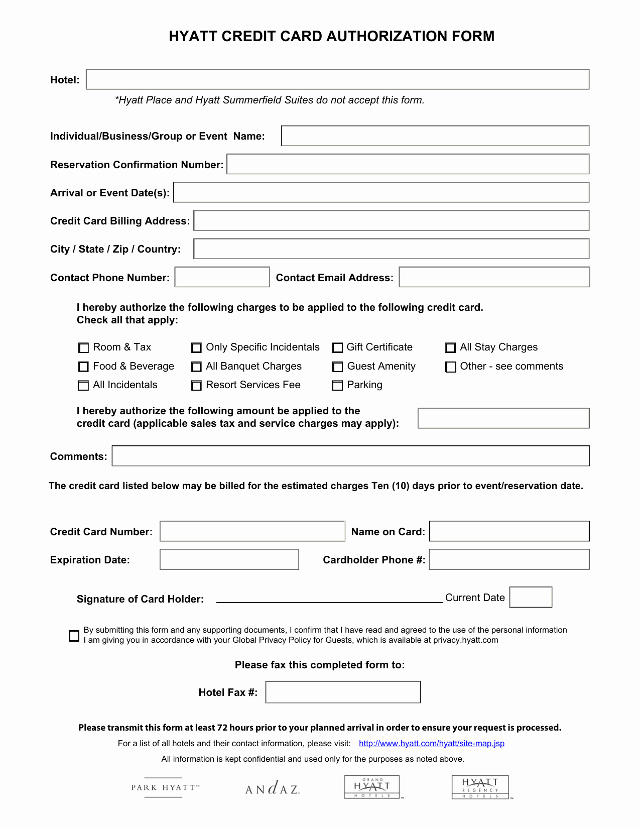 Credit Report Authorization form Template Beautiful Download Hyatt Credit Card Authorization form Template