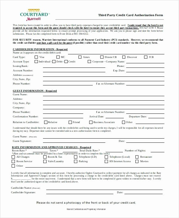 Credit Report Authorization form Template Best Of Credit Card form Template Credit Card Authorization form