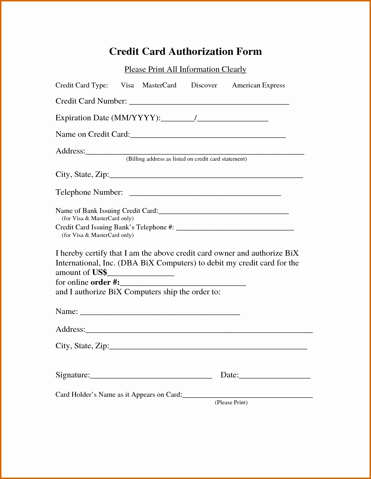Credit Report Authorization form Template Elegant 13 Printable Credit Card Authorization form