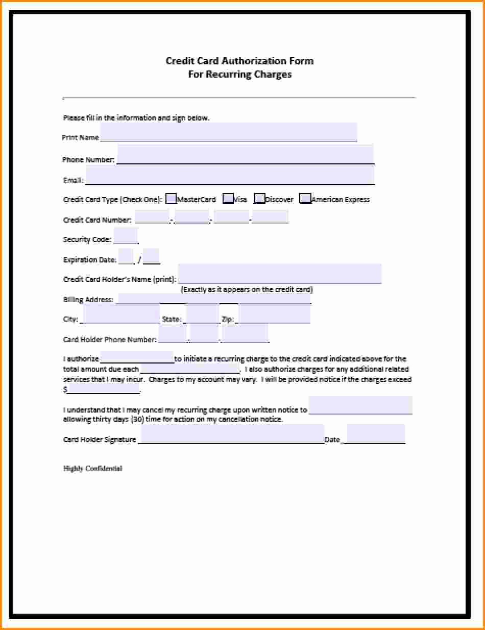 Credit Report Authorization form Template Elegant Credit Card Authorization form Pdf