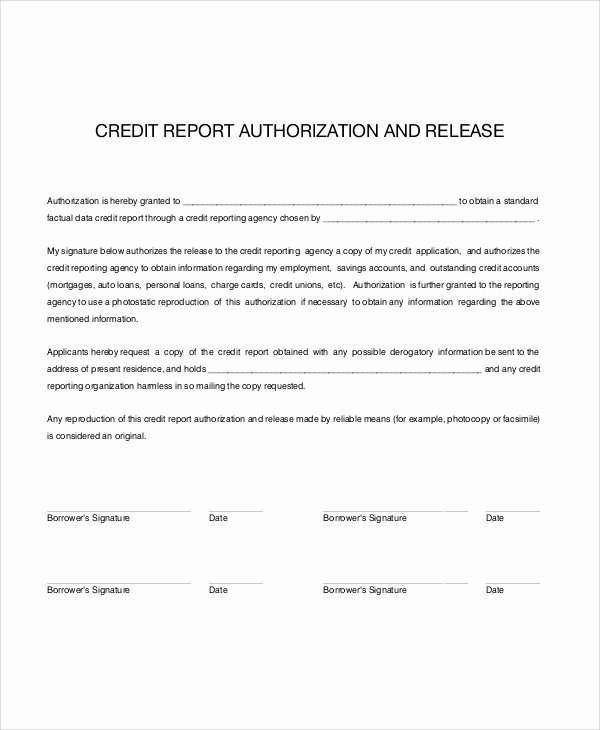 Credit Report Authorization form Template Fresh 7 Sample Credit Check Release forms