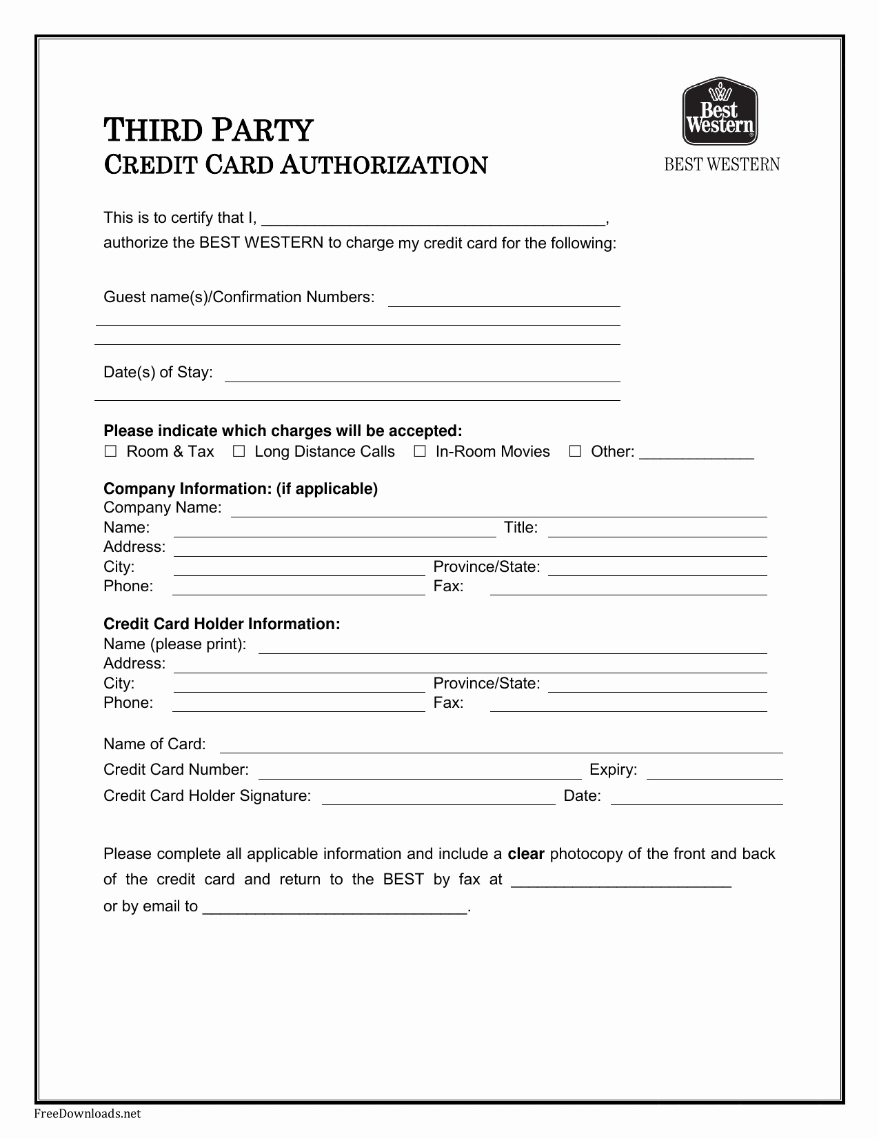 Credit Report Authorization form Template Fresh Download Best Western Credit Card Authorization form