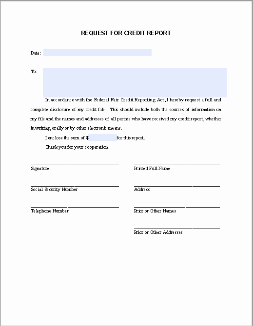 Credit Report Authorization form Template Inspirational Request Letter for Credit Report Free Fillable Pdf forms