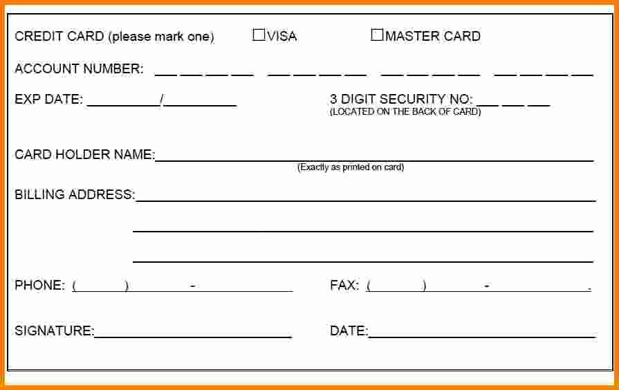 Credit Report Authorization form Template New 1 Credit Card Authorization form Template