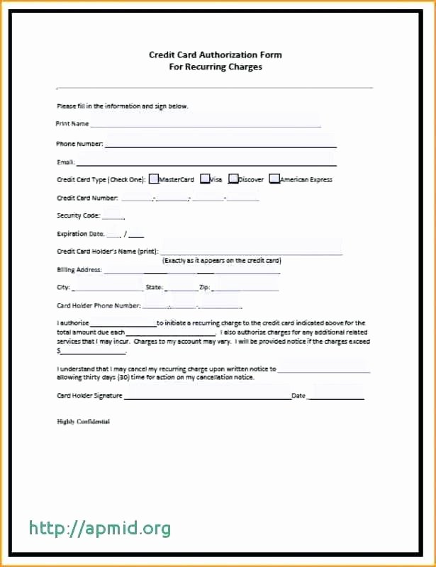 Credit Report Authorization form Template Unique Credit Card Authorization form Template Pdf – Obconline