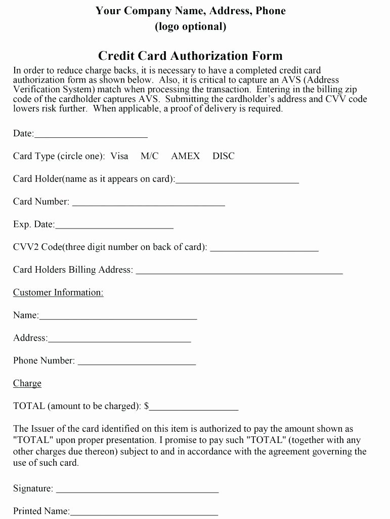 Credit Report Authorization form Template Unique Template Credit Card Authorization form Template Word