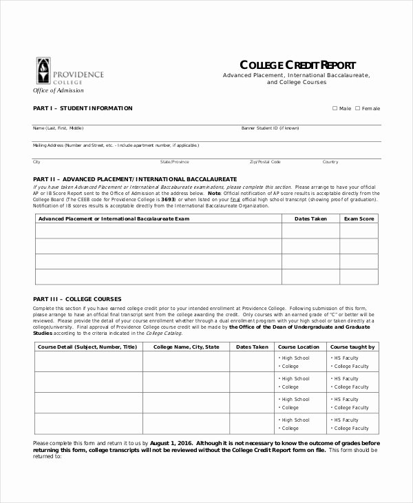 Credit Report Template Free Awesome Credit Template 8 Free Word Pdf Documents Download