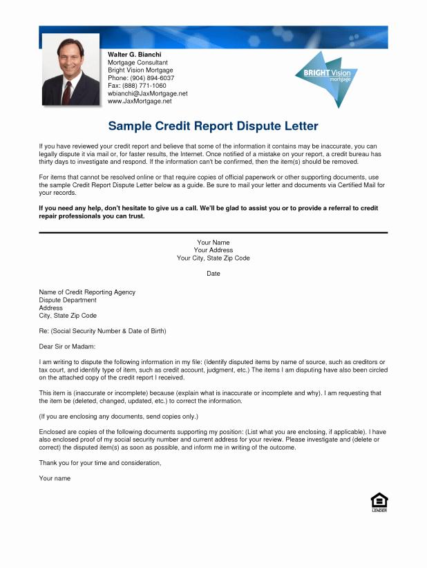 Credit Report Template Free Fresh Credit Report Dispute Letters Templates