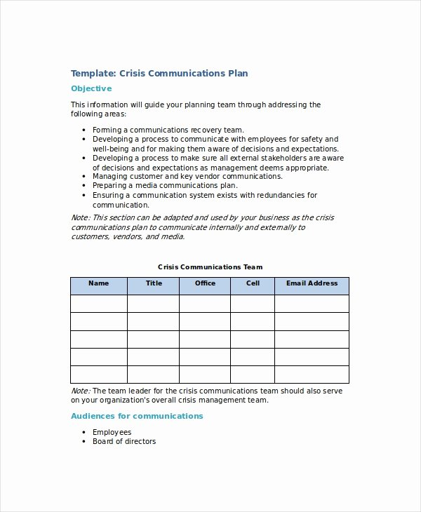 Crisis Communication Plan Template Awesome Crisis Plan Template 9 Free Word Pdf Documents
