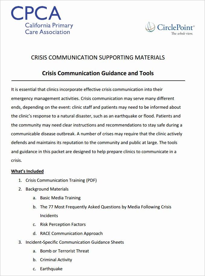 Crisis Communication Plan Template Best Of 3 Crisis Munication Plan Templates Doc Pdf