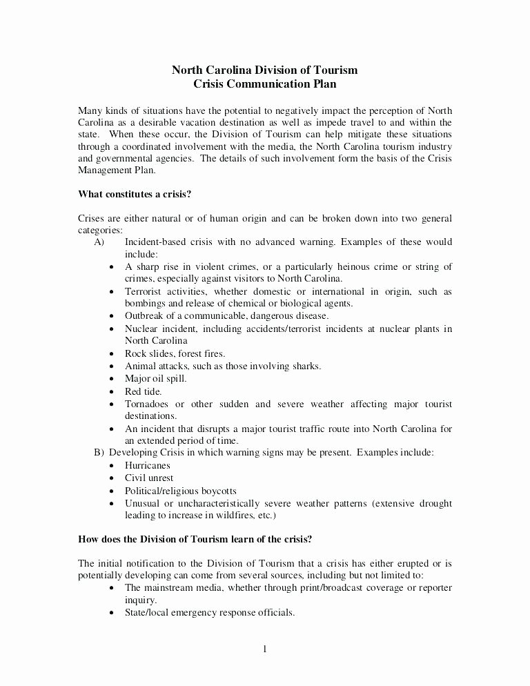 Crisis Communication Plan Template Fresh Example Crisis Munication Plan Template Emergency