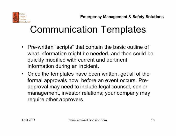 Crisis Communication Plan Template Lovely Crisis Munications Plans and Exercises