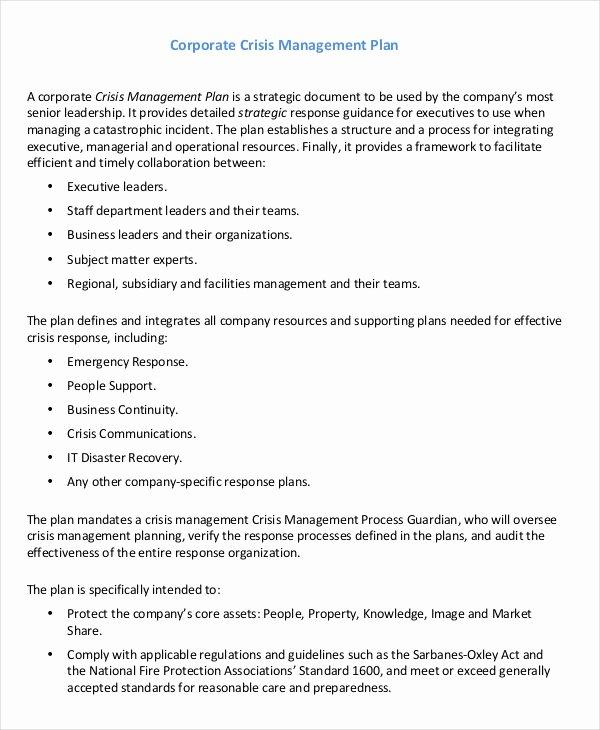 Crisis Management Plan Template Beautiful 10 Crisis Management Plan Templates Sample Word Google
