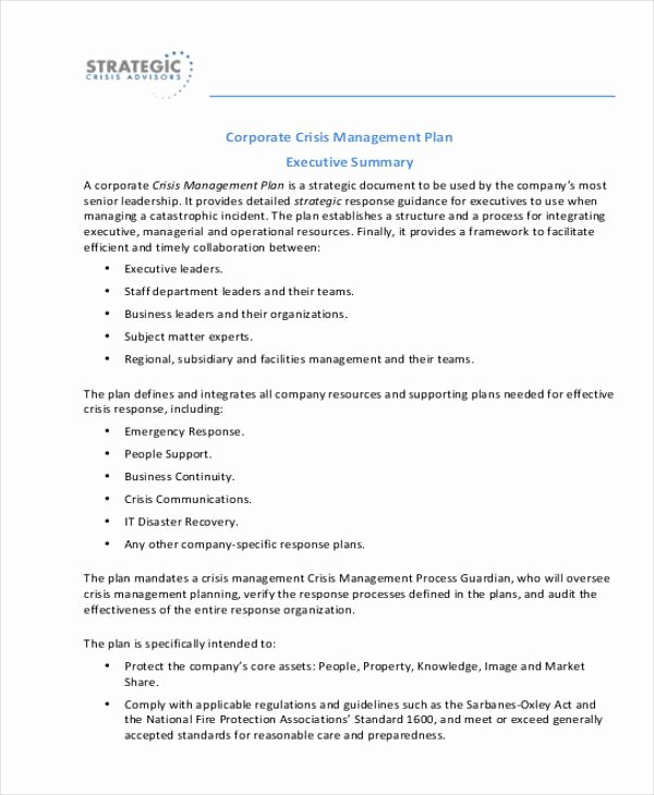 Crisis Management Plan Template New Crisis Management Plan Templates 10 Free Word Pdf