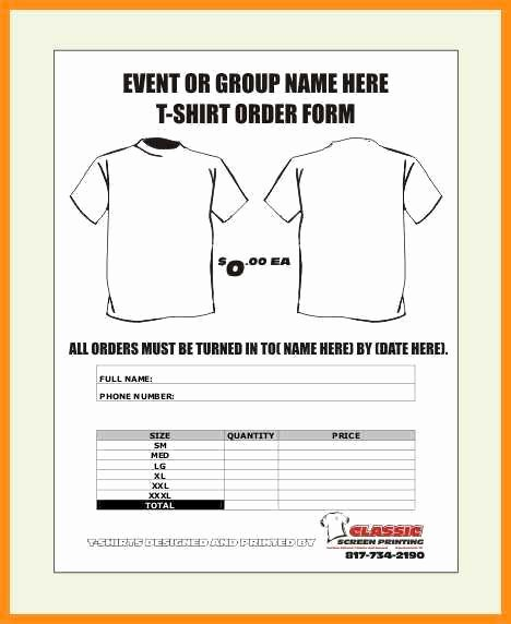 Custom order form Template Beautiful 9 10 order form Template for T Shirts