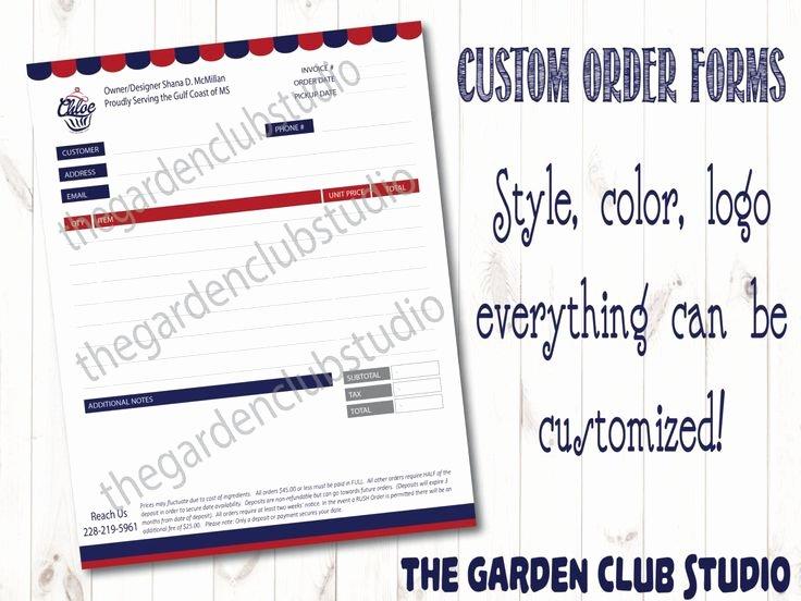 Custom order form Template Best Of Custom order form All Types Bakery order form Template