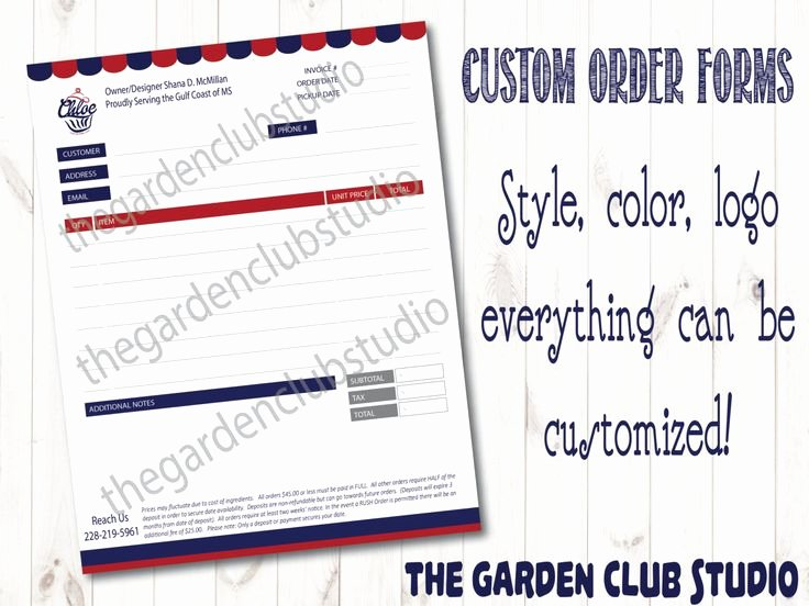Custom order form Template Best Of Custom order form All Types Bakery order form Template