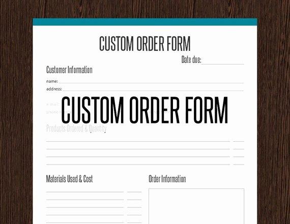 Custom order form Template Fresh Custom order form Fillable Business Planner Printable