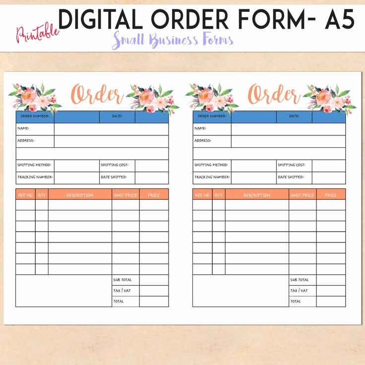 Custom order form Template Fresh Digital order form Printable Template Custom
