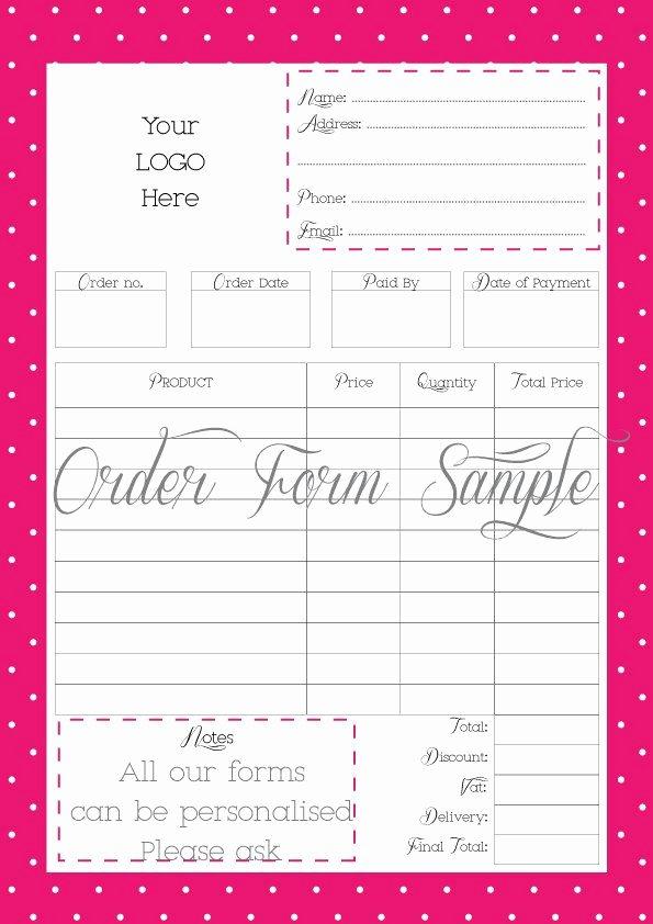 Custom order form Template Fresh order form Printable order form Work at Home Pdf File