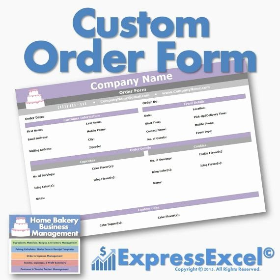 Custom order form Template Inspirational the Home Bakery Business Management Excel Spreadsheet