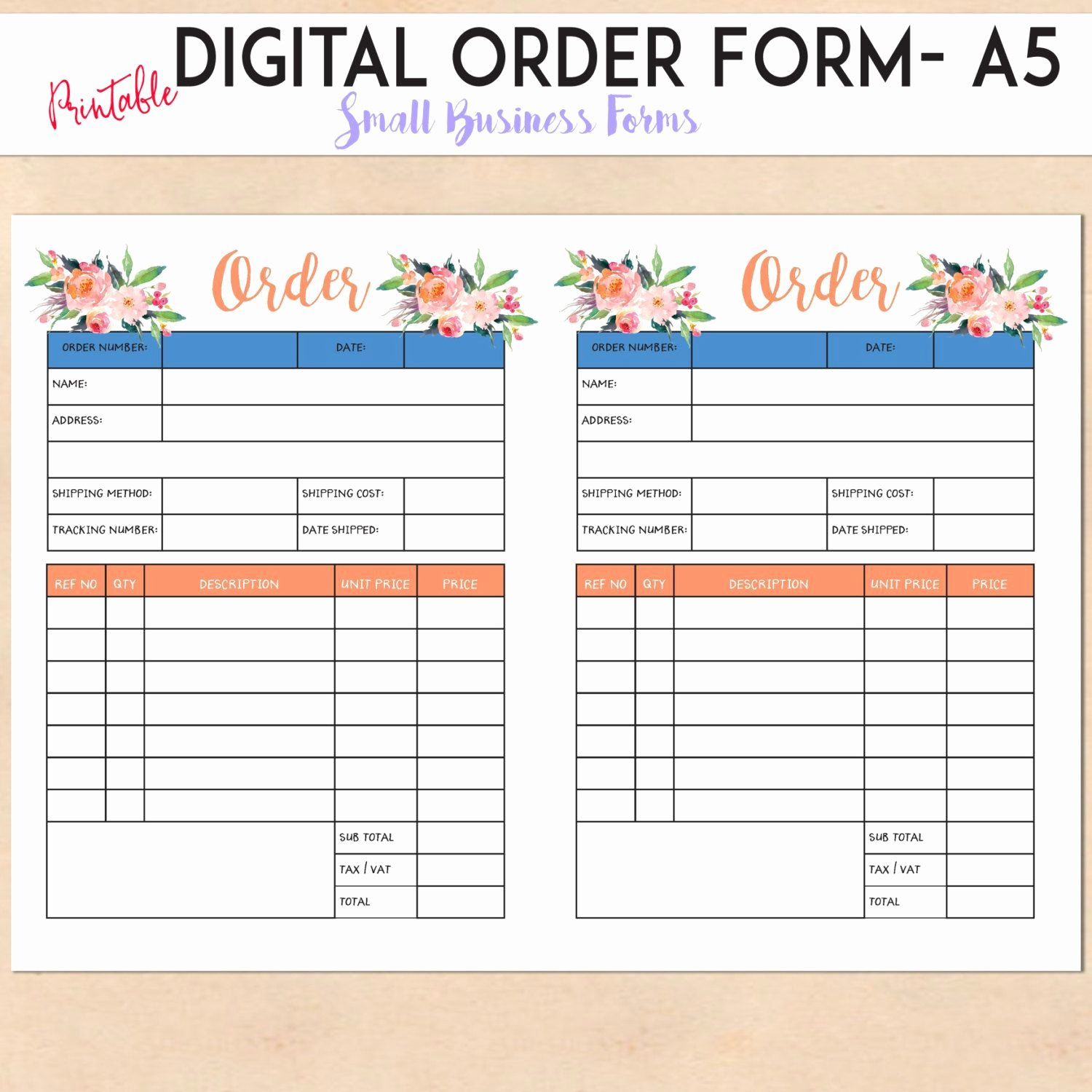 Custom order form Template New Digital order form Printable Template Custom