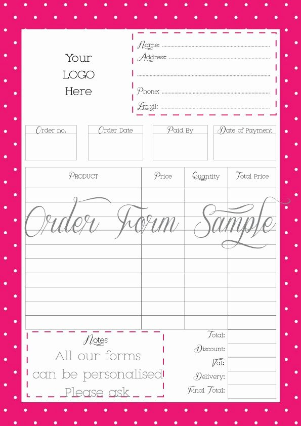 Custom order forms Template Awesome order form Printable order form Work at Home Pdf File