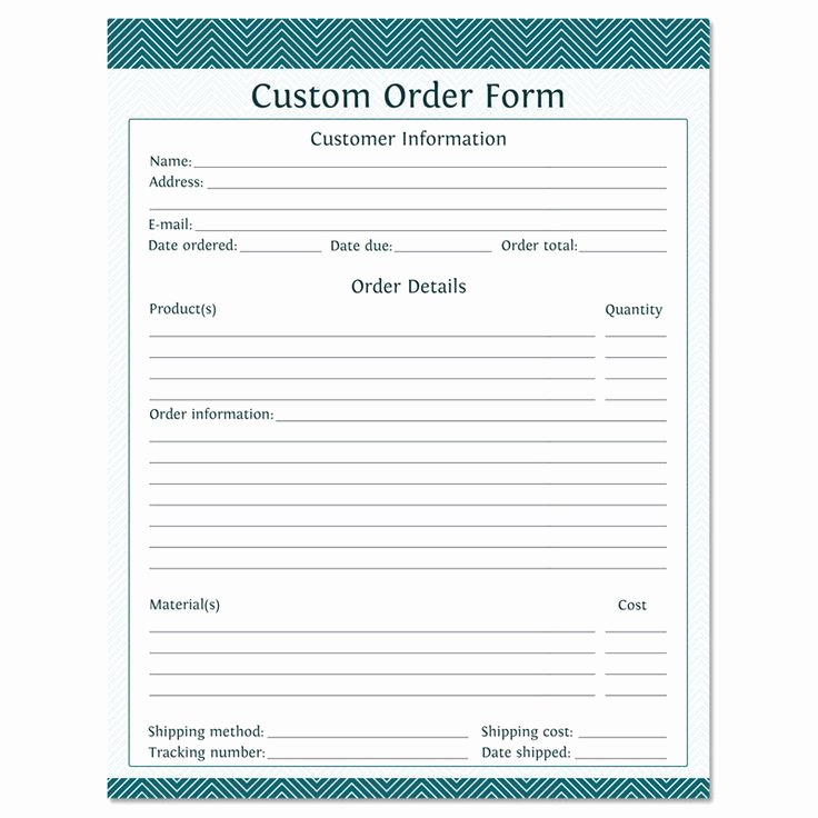 Custom order forms Template Beautiful Custom order form Fillable Business Planner
