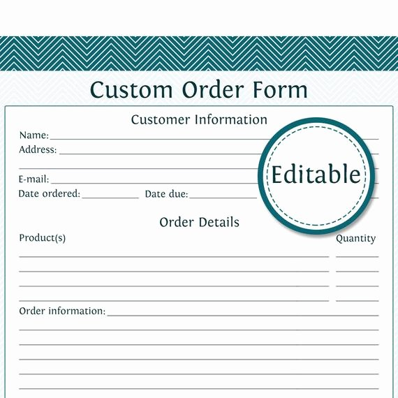 Custom order forms Template Beautiful Custom order form Fillable Business Planner Printable