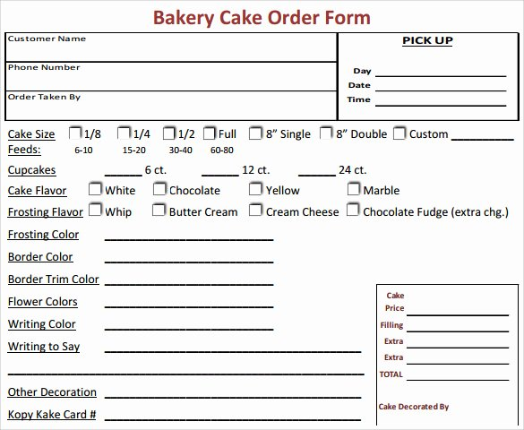 Custom order forms Template Luxury 16 Cake order form Templates