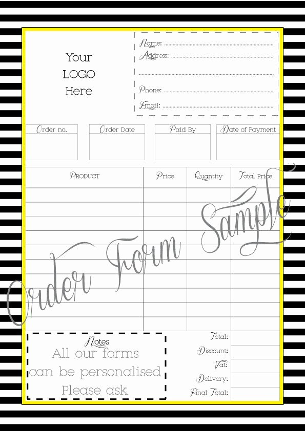 Custom order forms Template Unique order form Printable Work at Home Pdf File