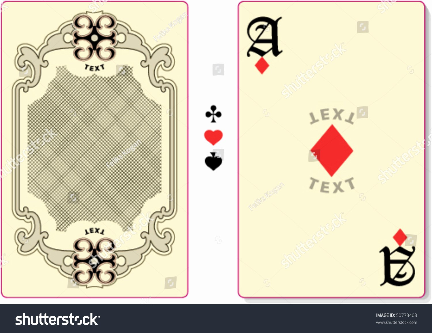 Custom Playing Card Template Best Of Playing Card Back Template Custom Text Stock Vector