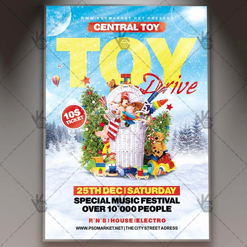 Customer Appreciation Day Flyer Template Inspirational toy Drive Winter Flyer Psd Template
