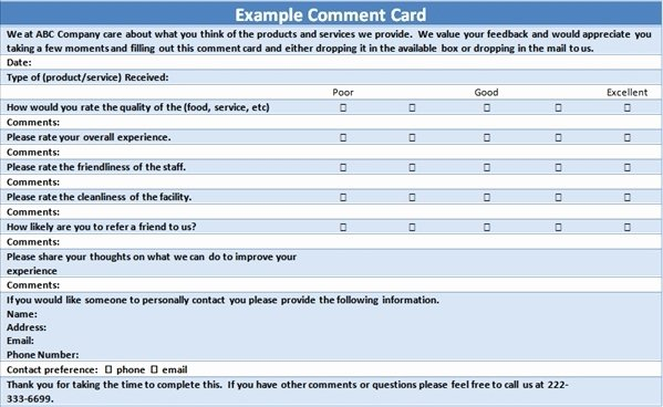 Customer Comment Card Template Awesome Ment Card Template Beepmunk