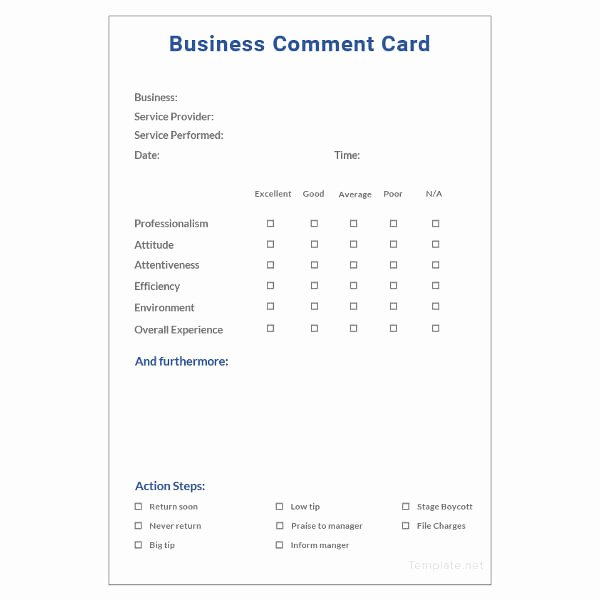 Customer Comment Card Template Fresh 18 Ment Card Templates Psd Ai Eps