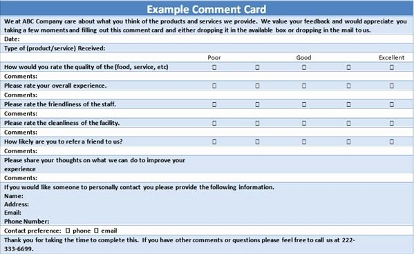 Customer Comment Card Template New Free Customer Ment Card Template