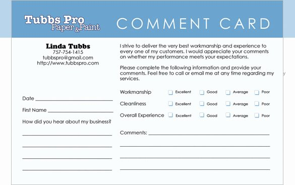 Customer Comment Card Template Unique Templates for Ment Cards Video Search Engine at
