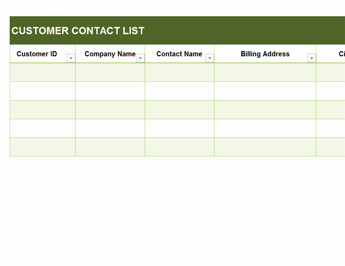 Customer Contact List Template Best Of Basic Customer Contact List