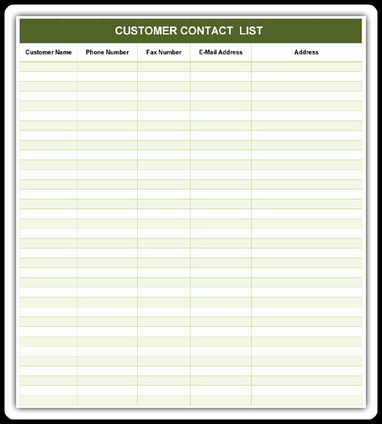 Customer Contact List Template Elegant Customer Contact List