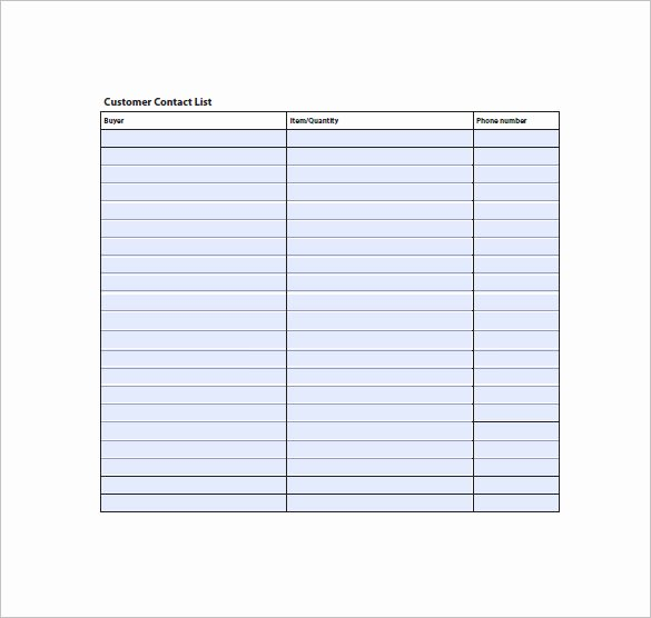 Customer Contact List Template Fresh Contact List Template 10 Free Word Excel Pdf format