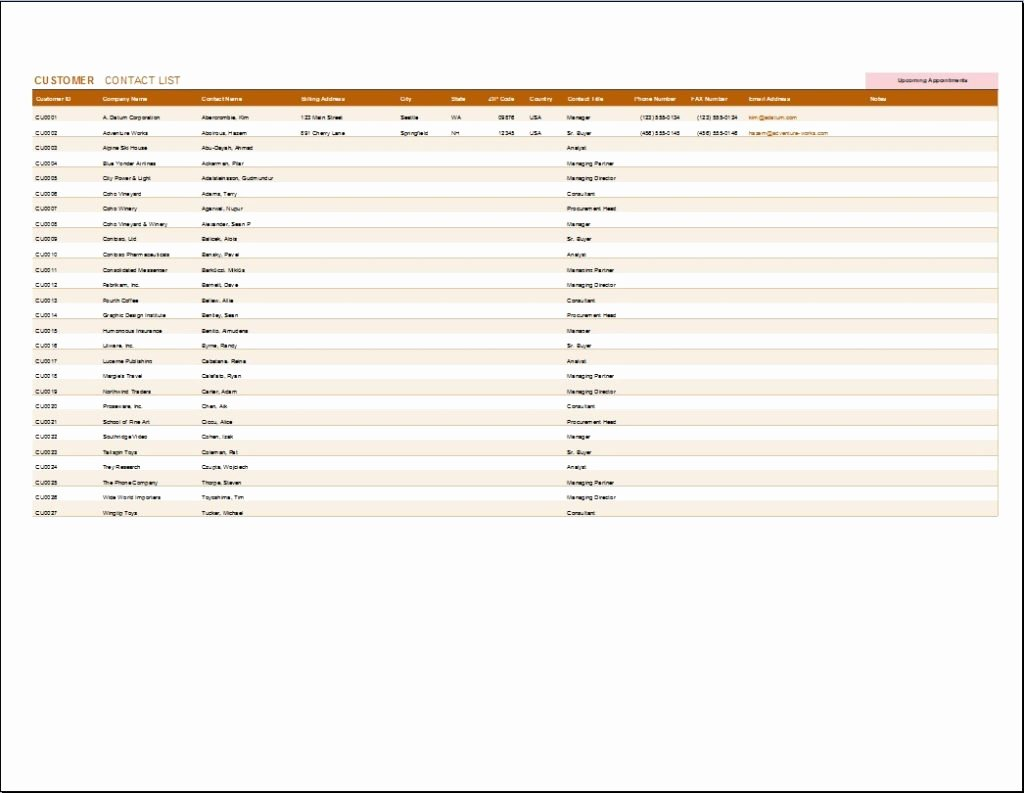 Customer Contact List Template Luxury Customer Contact Tracker Template